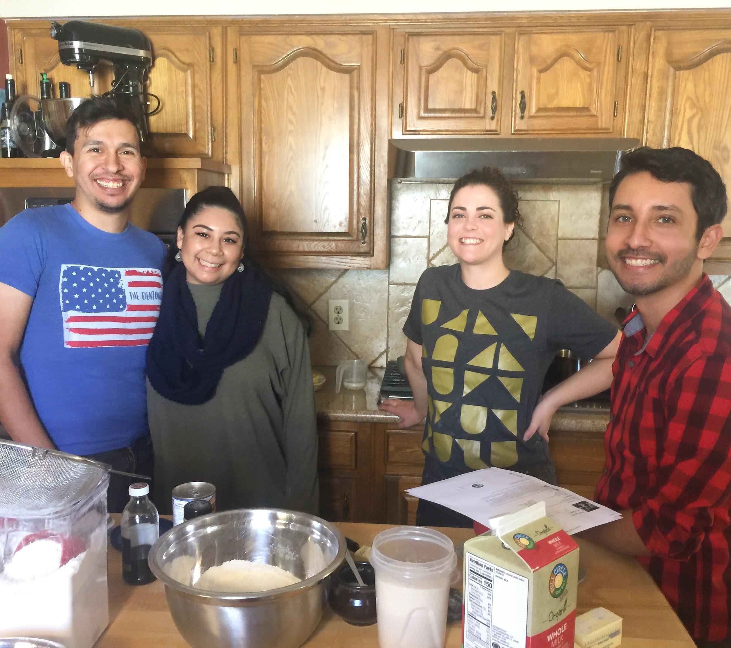 Mateo, Anjelica, and Samuel gettin' their bake on!