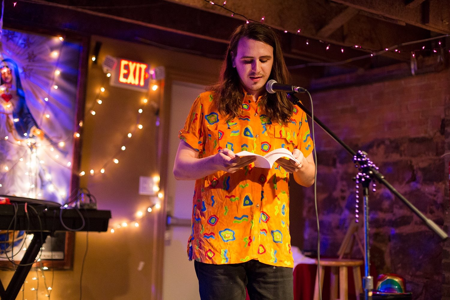 Adam S. Mahout   music, poetry   Adam S. Mahout writes poetry and music in Denton, Texas. He currently performs with J. Allert, Ditch Prince, and Danielle Grubb. Other works have been featured on the Dentonite, North Texas Review, and here (Spiderweb Salon!)   Instagram