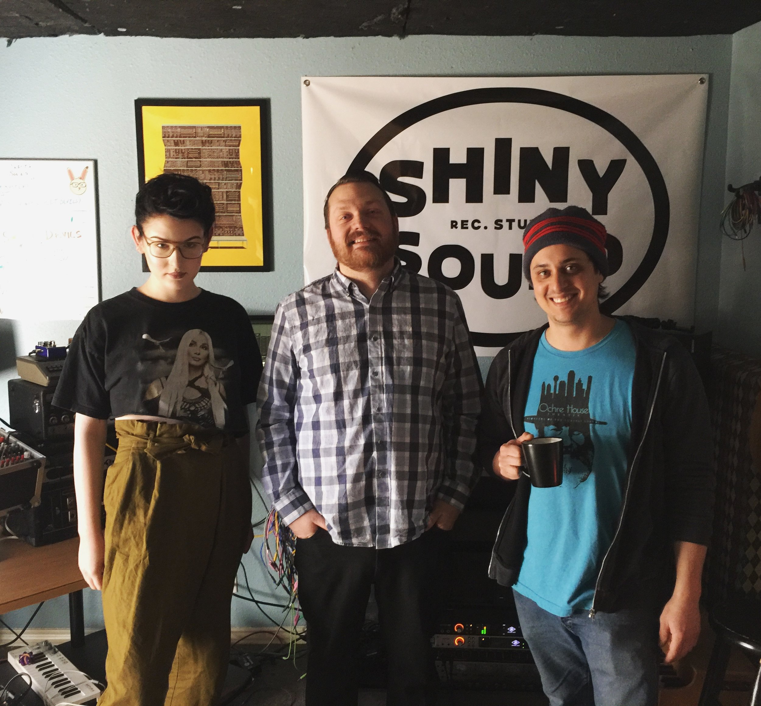 Lorelei K, Corbin Childs, and Jacob Greenan at Shiny Sound Recording Studio