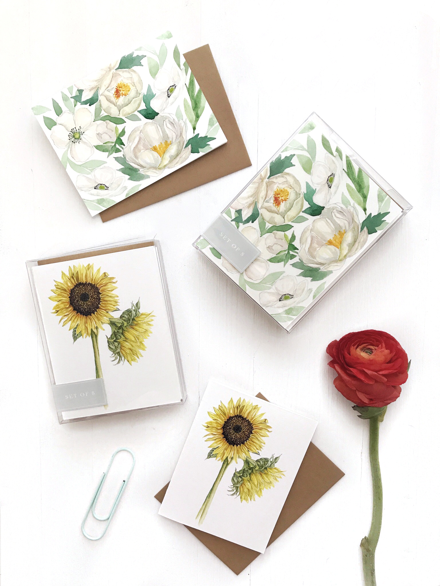 Stationery cards that I designed and have available in my shop. They can be purchased as single or box sets of 8.