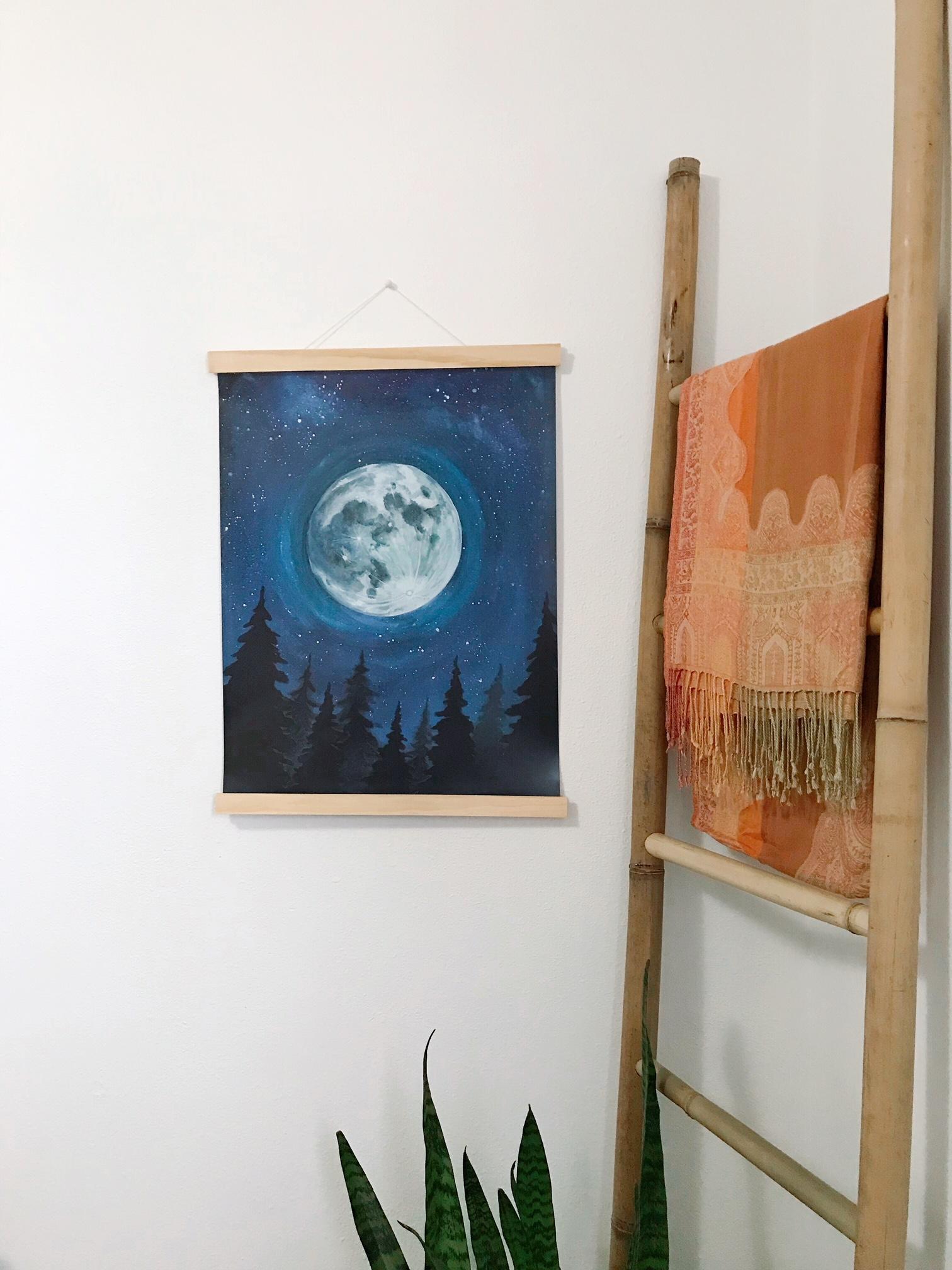 "Lunar Sky Poster & Wood Magnet Hanger -  18""x24"" poster and 18.5"" handmade pine wood magnet hanger."