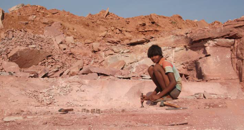 A child working in a stone quarry in Rajasthan, India. Forced labour is common in Rajasthan stone quarries and quarries elsewhere in India. Indian stone is commonly sold in Australia without a way of ensuring that forced and child workers have not quarried the stone.