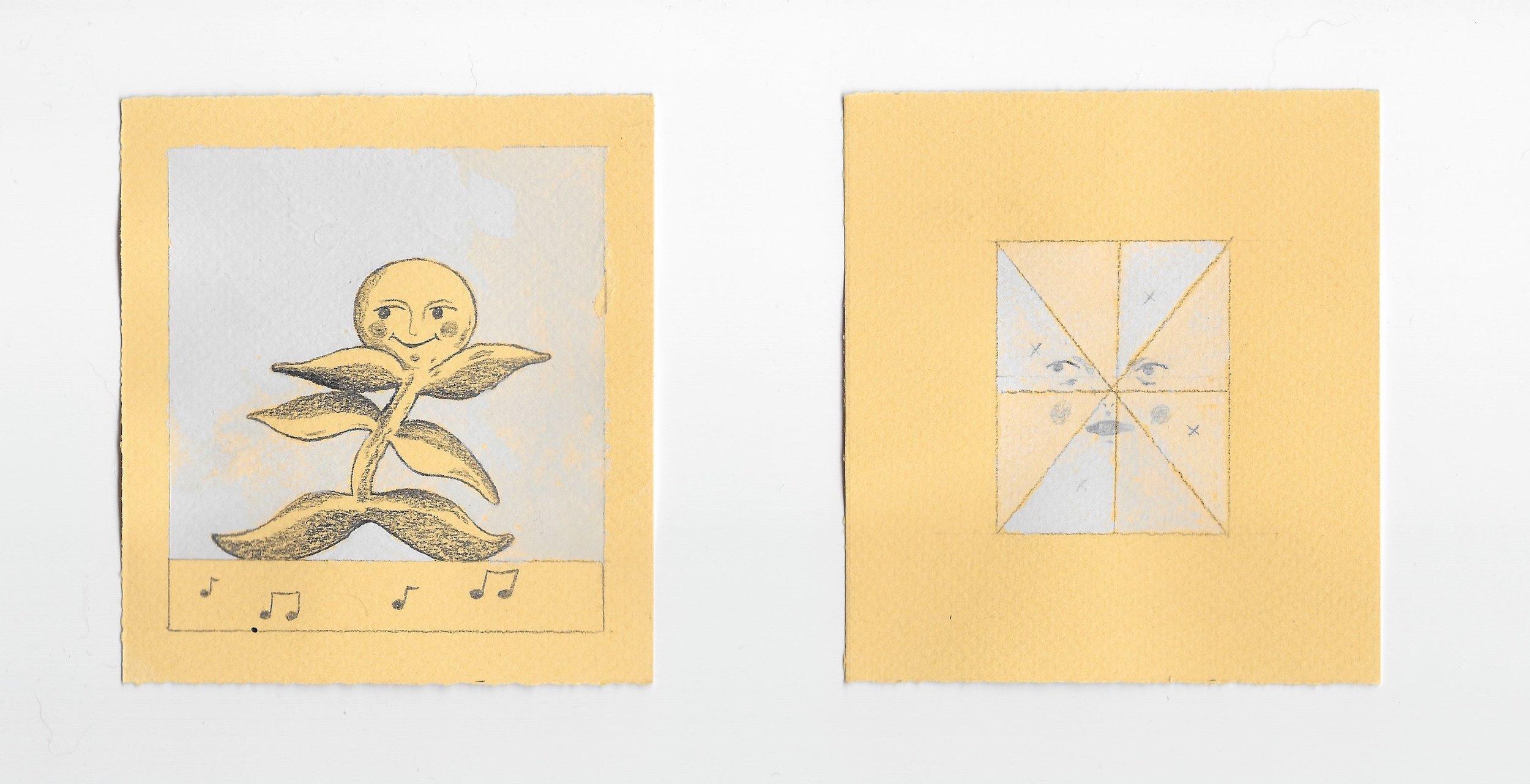 "- a note & a mirrorgraphite and gouache3.5x4"" , 3.5x4""2019"