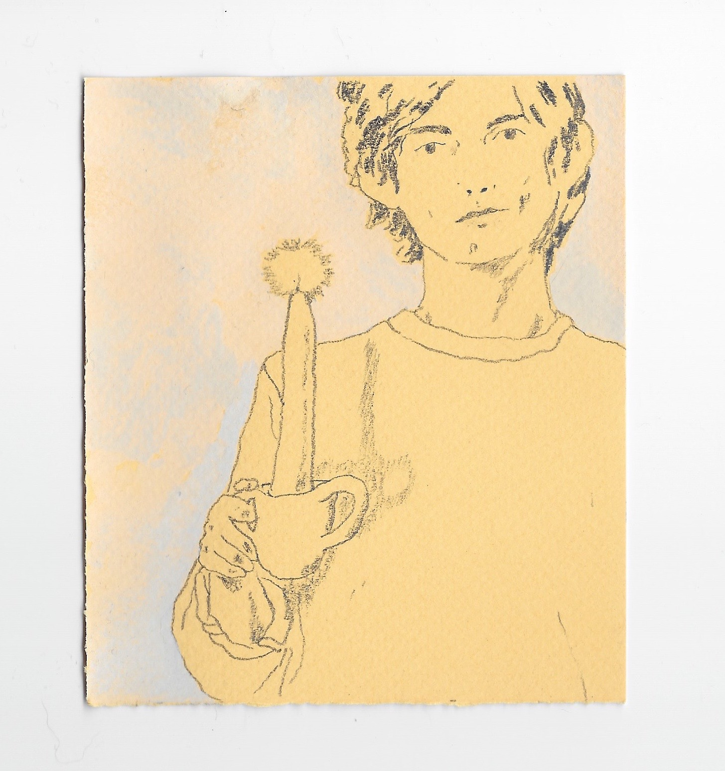 """- Portraitgraphite and gouache3.5x4.25""""2019"""