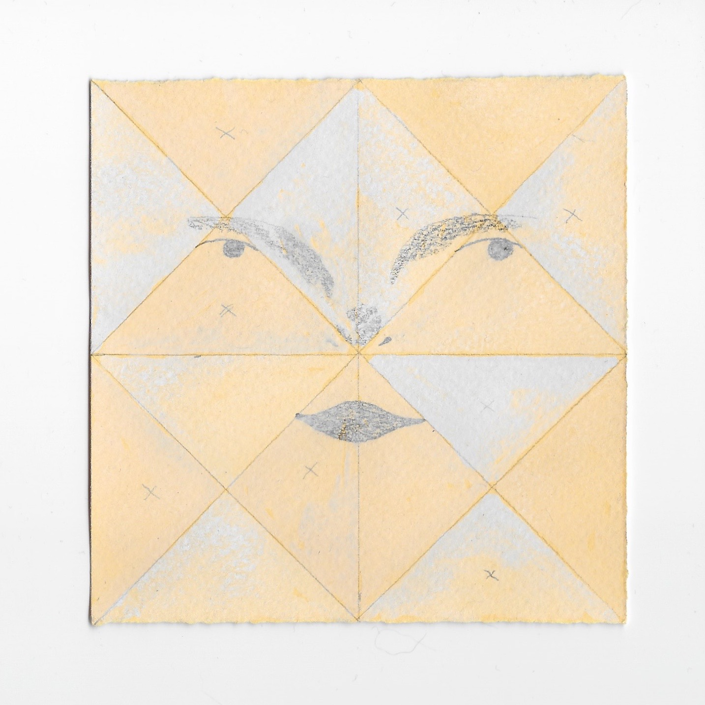"""- Quilted Reflection graphite and gouache 3.75x3.75""""2019"""