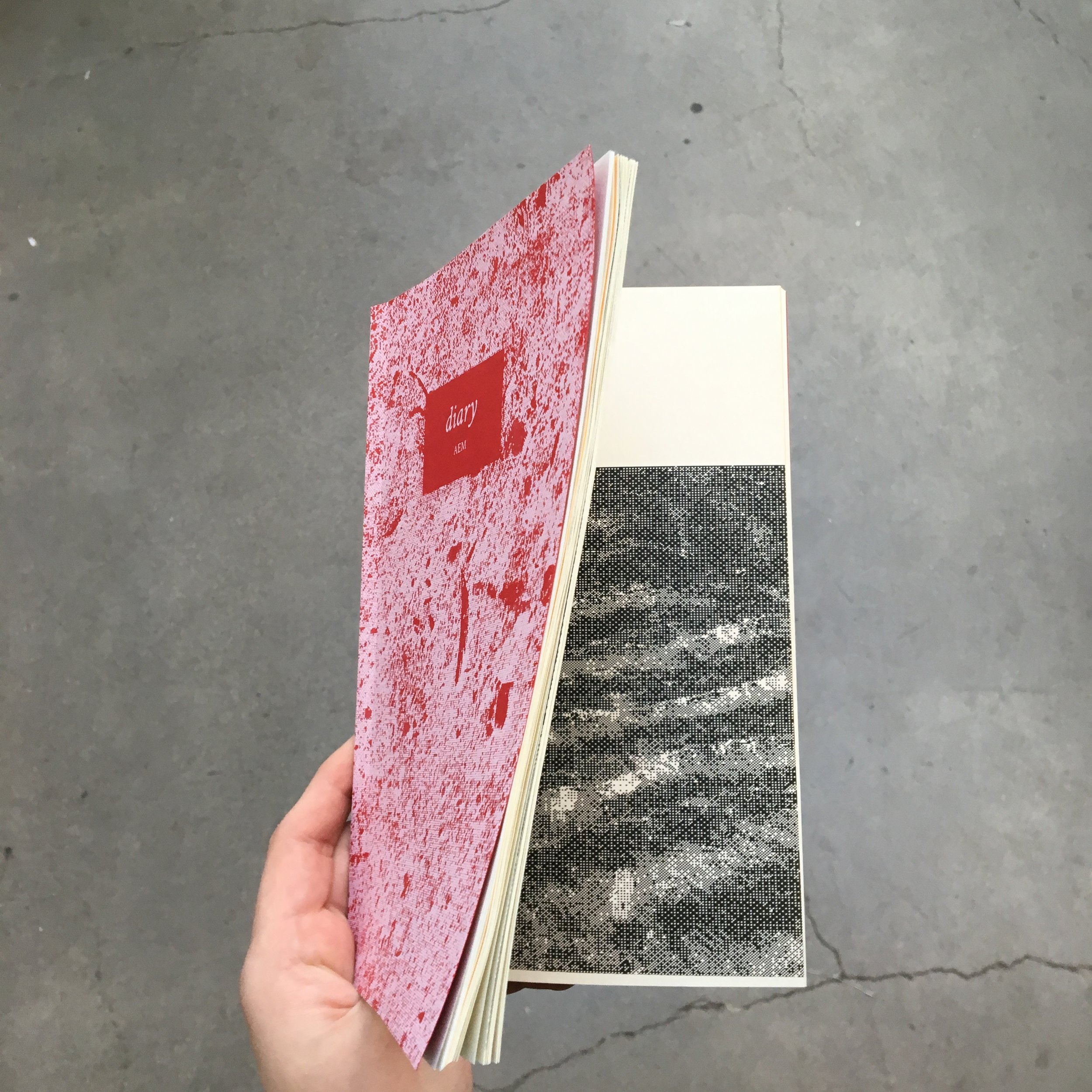 """- diary, with cherry pitsprinted & perfect bond book5x7""""2016"""