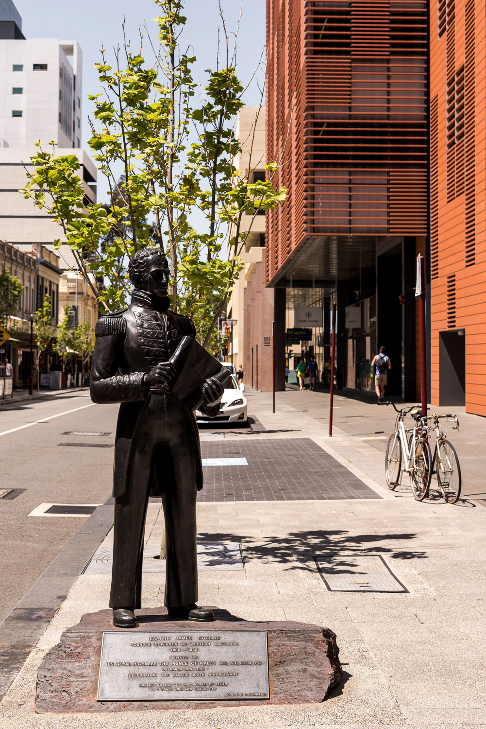 Captain James Stirling (1979) - Artist Clement P SomersCity of Perth Library, 573 Hay Street Hay StreetThis statue of Captain James Stirling was created in 1979 to celebrate Western Australia's 150th anniversary.Sir James Stirling (28 January 1791 – 22 April 1865) was a British naval officer and colonial administrator. His enthusiasm and persistence persuaded the British Government to establish the Swan River Colony and he became the first Governor and Commander-in-Chief of Western Australia.