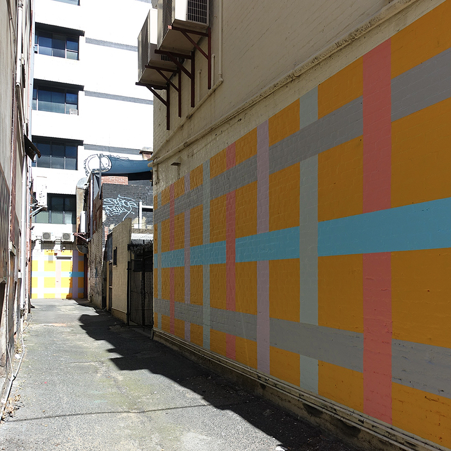 Historic HeartMural Artworks 2 & 3 (2017) - Artist Jeremy Kirwan-WardPier Street, PerthJeremy has created an interwoven grid pattern which stems from the built environment in which these artworks are located, where there is a conjunction of facades and an opening to a laneway. The work is in keeping with Jeremy's longstanding interest in geometric and dimensional illusions and play on perception.For further details on the artist visit Jeremy Kirwan-Ward's website