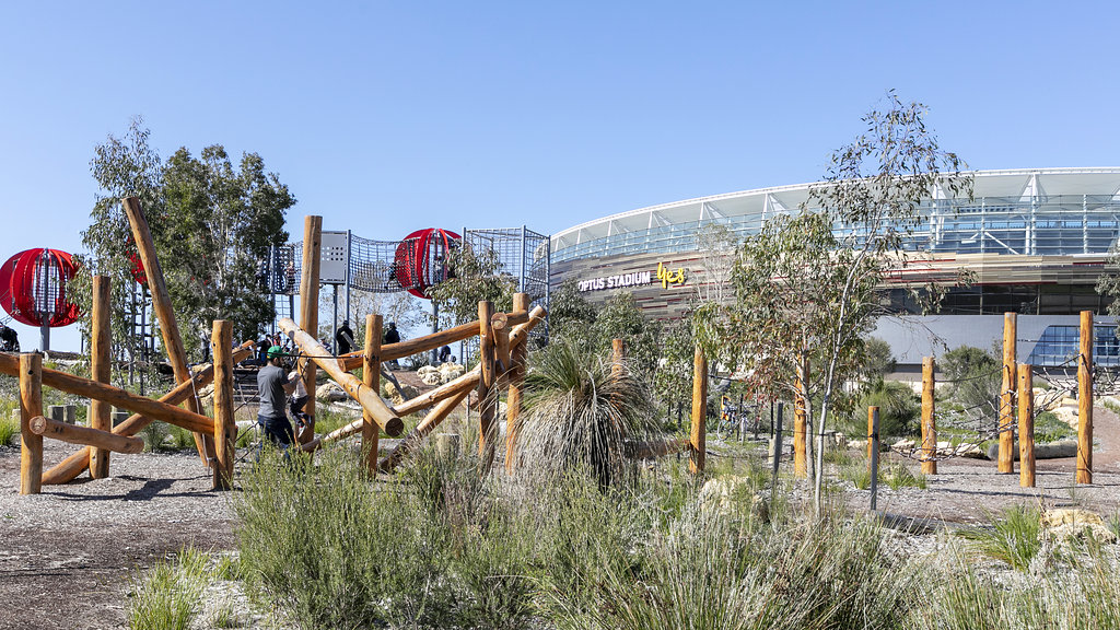 14. Chevron Gardensat Optus Stadium - Developed with input from the Whadjuk community, this vast space is inspired by the Noongar six seasons. It sprawls across 2.6 hectares of transformed parkland, with plenty of nature play elements for kids.