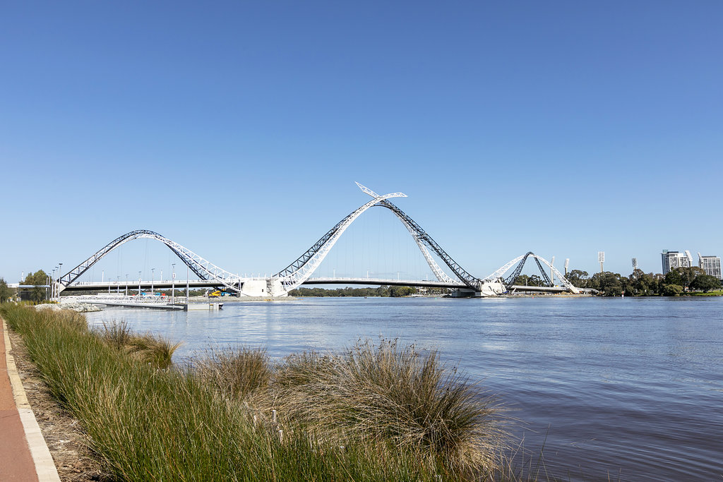 "13. Matagarup Bridge - Officially opened in July 2018, the ""Matagarup Bridge"" linking the city to the Optus Stadium is named after the Whadjuk name for the area around Heirisson Island. It means a place where the river is only leg deep, allowing it to be crossed."