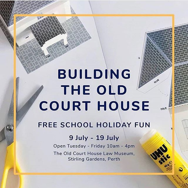 FREE School Holiday Fun! Its raining, pouring but it need not be boring! 👏🏻 Pop the kids in the car (or catch a train because its more fun!) & head to the @oldcourthouselawmuseum to discover the architectural details of Perth's oldest surviving building! Decorate & create your VERY OWN Old Court House to take home with you!  9 July - 19 July Open Tuesday - Friday 10am - 4pm The Old Court House Law Museum, Stirling Gardens, Perth Telephone: (08) 9324 8688  Email: museum@lawsocietywa.asn.au