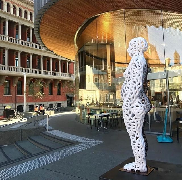 Entitlement 2 is outside of the @cityofperthlibrary in @cathedralsquare until the 21st July. The sun is out so its a perfect time to go exploring in your city's Historic Heart! ❤️ Over several weeks this life-sized human effigy builds itself from ice pulled directly from the air around it, to then melt away and return to the atmosphere. 📸 @lucyzupan