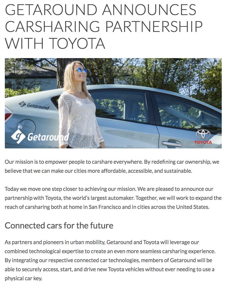 Getaround announces carsharing partnership with Toyota