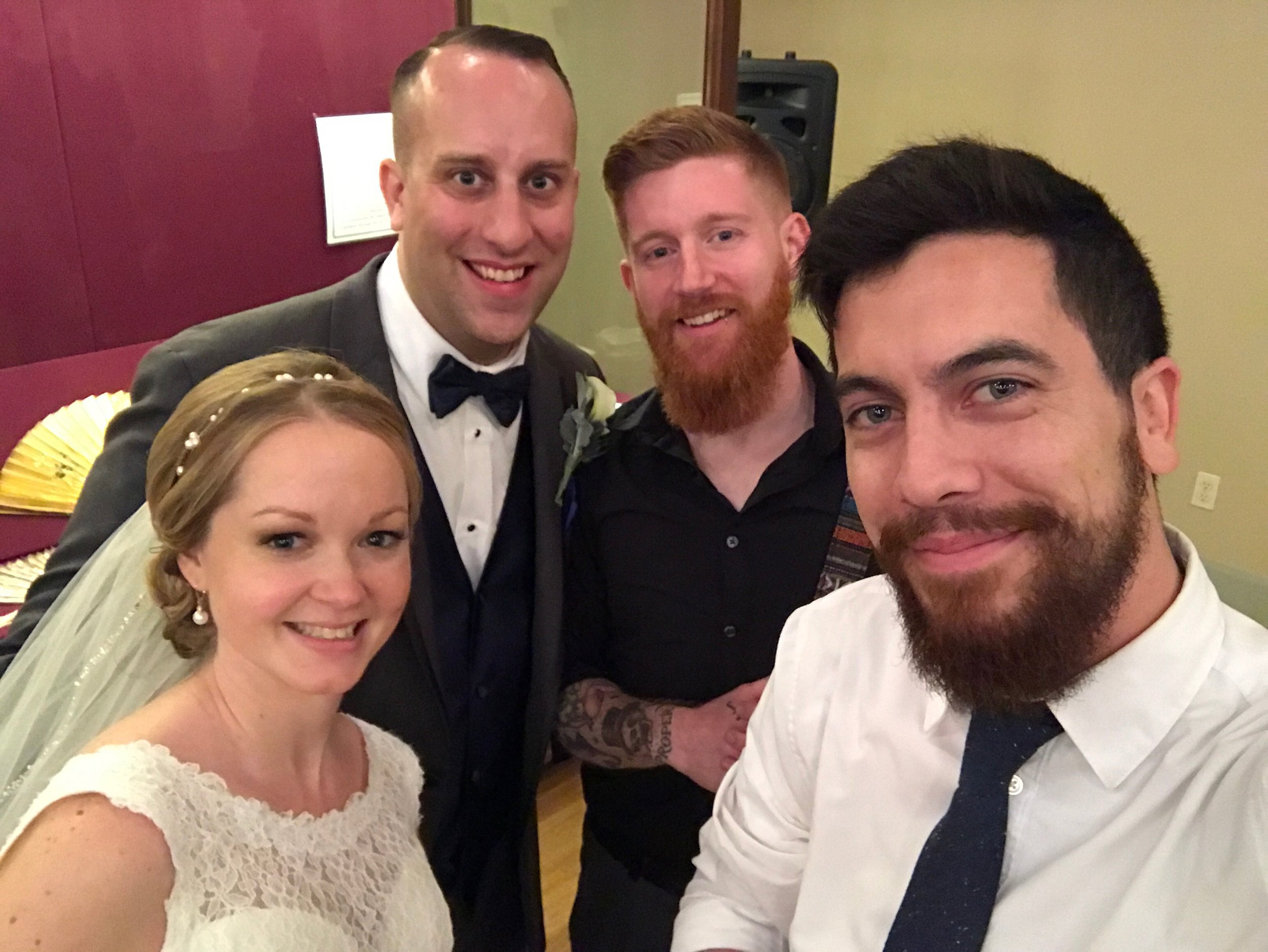 Jessica, Kevin, Phil Fusco (Wedding Photographer) and Me  Always gotta do the wedding selfie