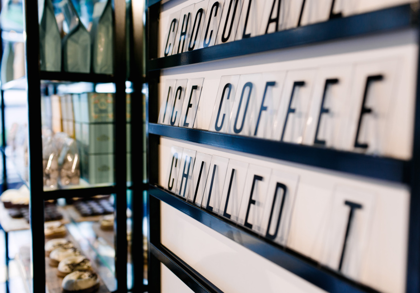 Coffee signs at Gold Drops cafe in Melbourne's city centre.jpg