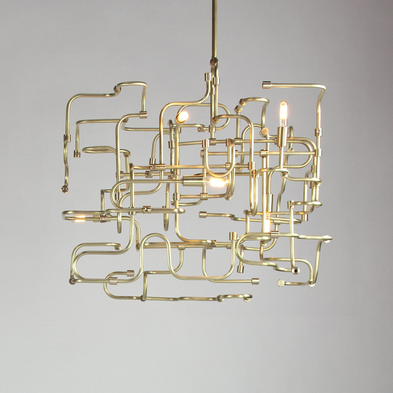"Circuit Chandelier                                       @ Otium Restaurant                                             800"" x 200"" x 18""                                     Custom Sizes Available.                                          Copper and Steel"