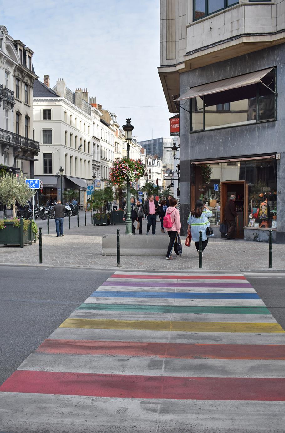 Rainbow street crossing Brussels