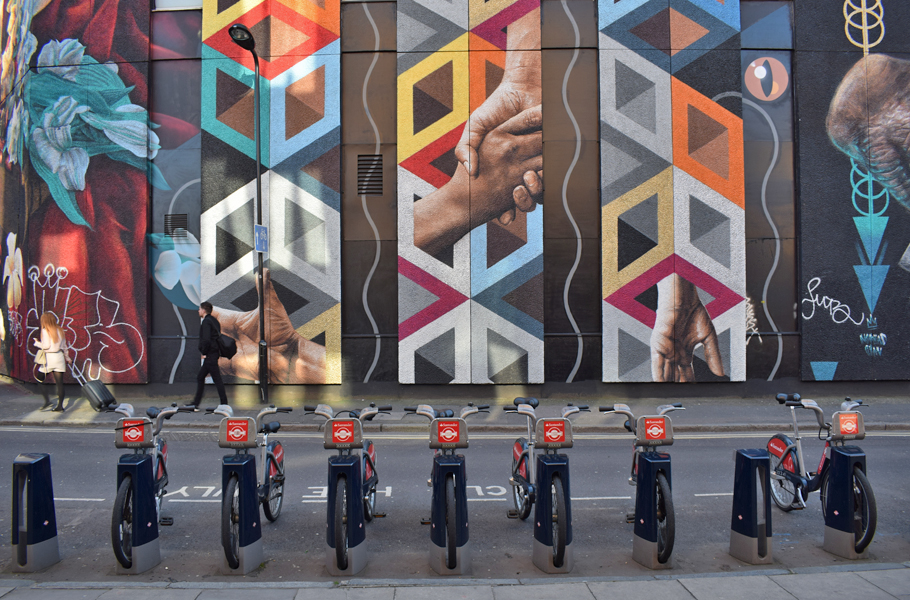 Santander cycles and street art Shoreditch London