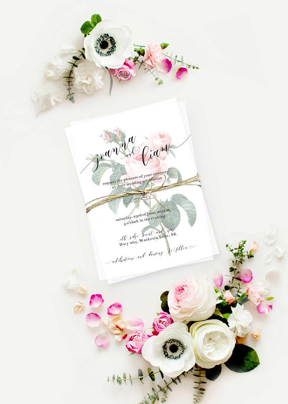 pink and green wedding invitation
