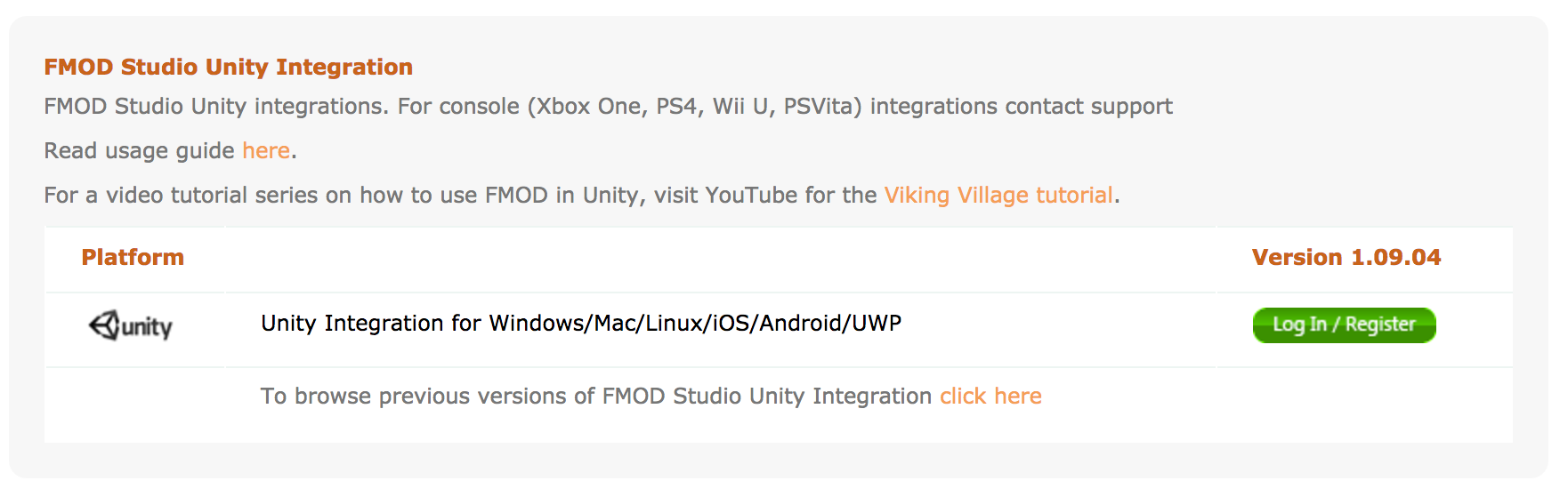 The FMOD/Unity Integration Download on FMOD's Website