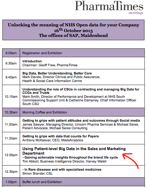 PharmaTimes event 'Unlocking the meaning of NHS open data for your company', 16th October 2013. (Links to  full agenda  and the  invitiation ).