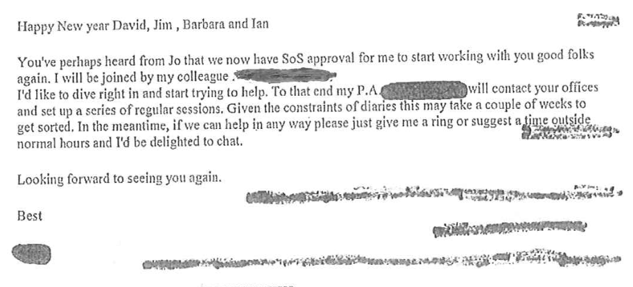 Email from McKinsey (name redacted) to senior officials in the Department of Health, 11 January 2011.