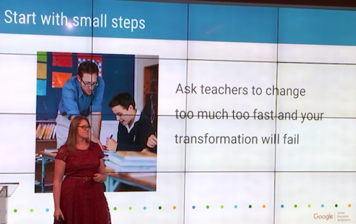 Liz Anderson, Google for Education's head of '  global adoption programmes'  speaking  at the 2015 Global Education Symposium, 'Google's main thought leadership event' on education.