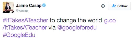 Google's Chief Education Evangelist,   Jaime Casap, promoting Google's ItTakesATeacher campaign