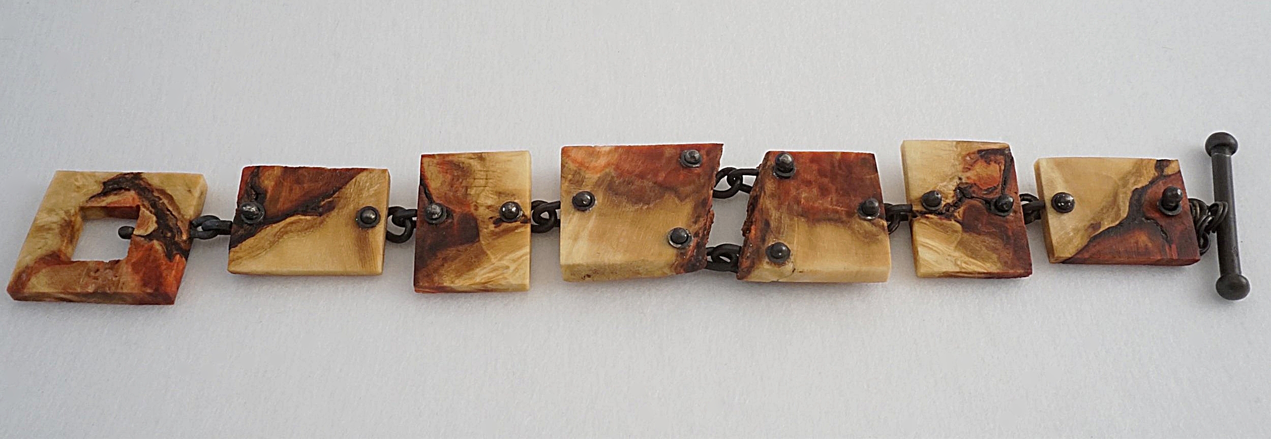 Hand carved box elder burl wood links with blackened sterling silver links and toggle