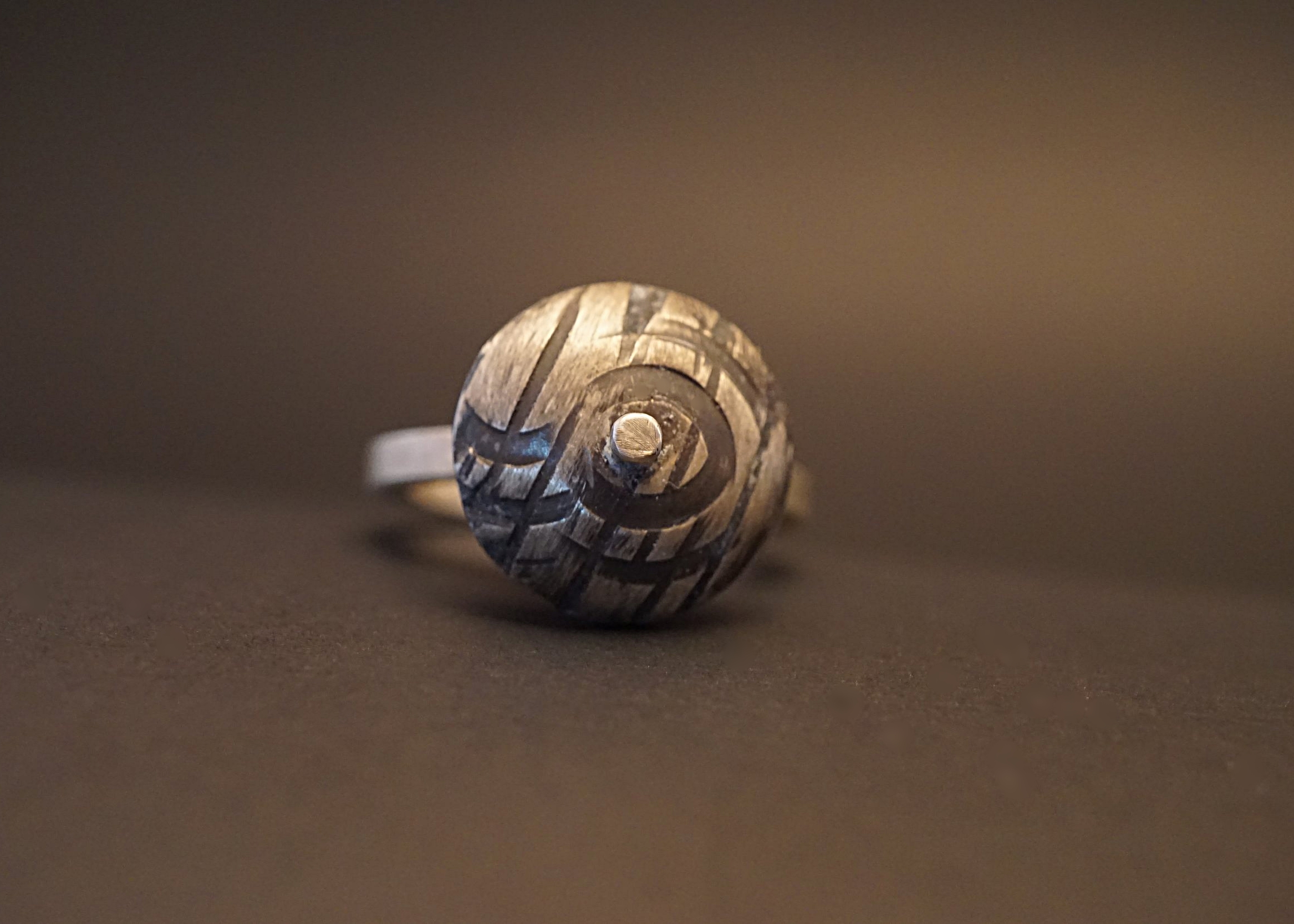 Domed sterling silver ring