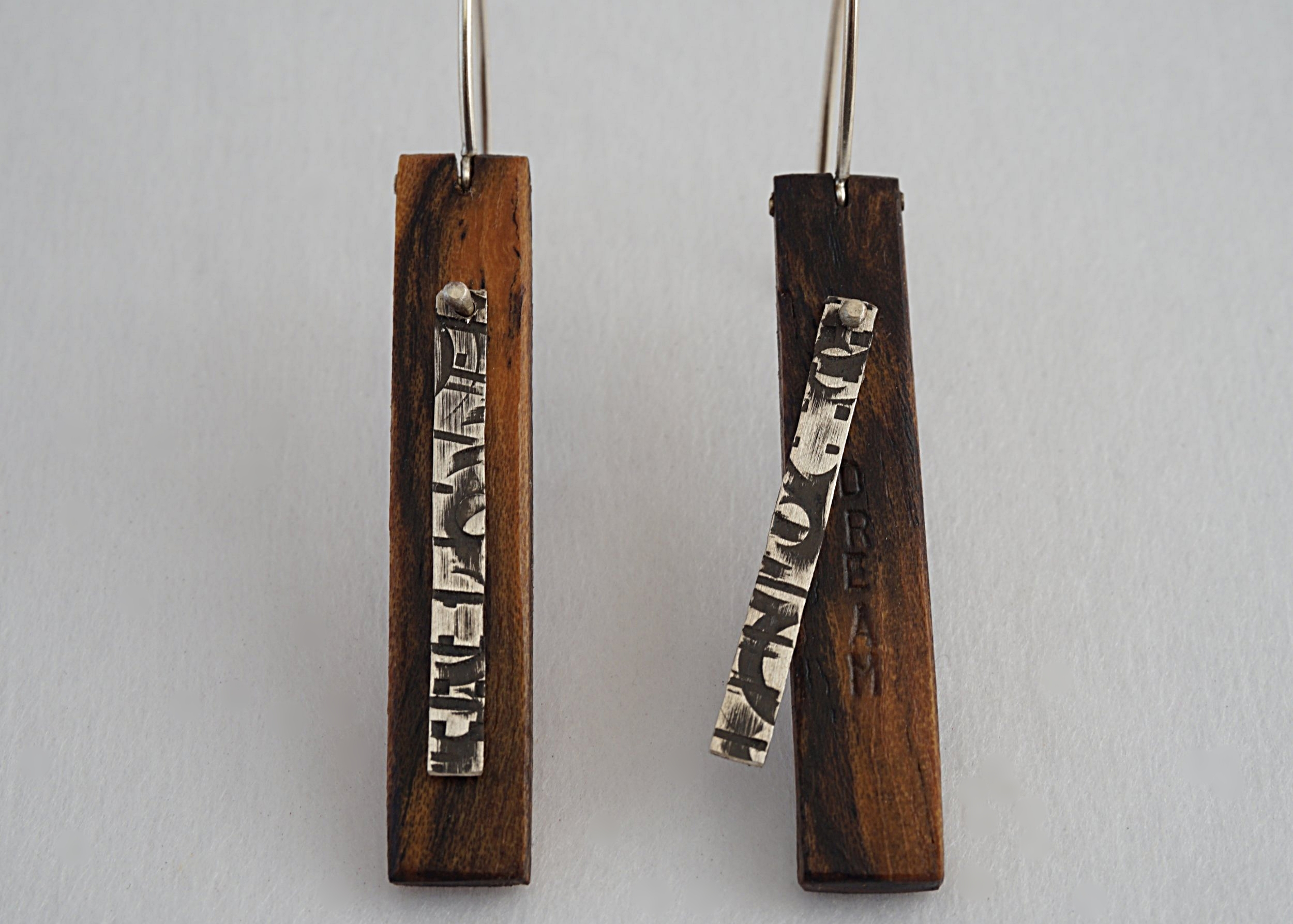 Bocote hand stamped earrings