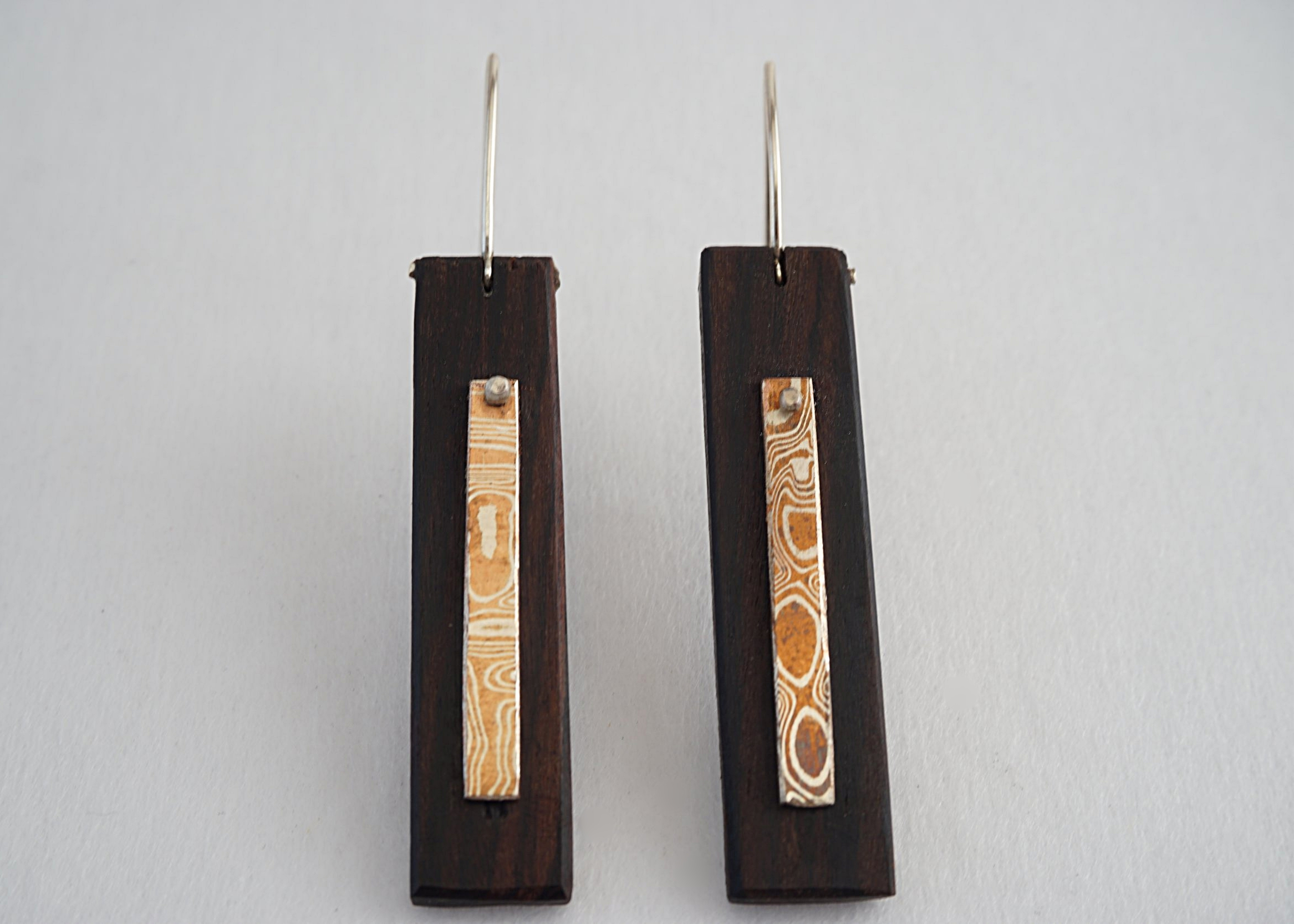 Mokume-gane and bolivian rosewood earrings