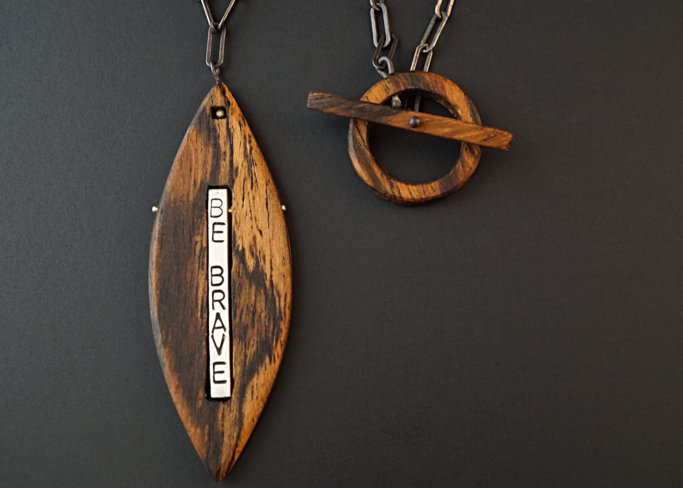 Bocote wood be brave and believe necklace