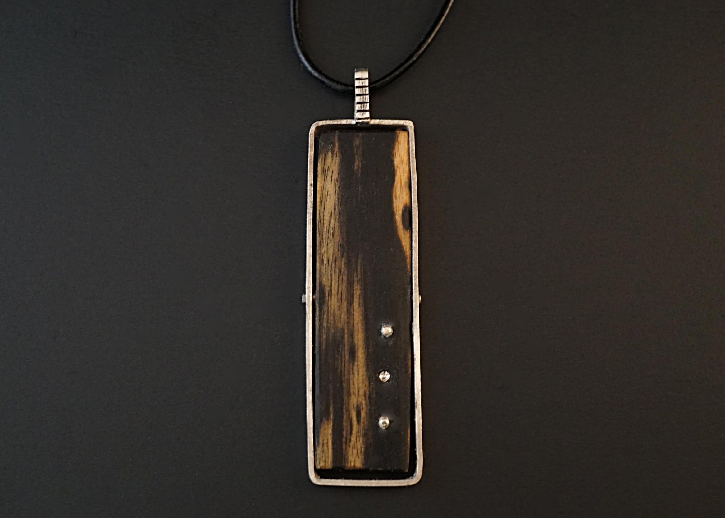 Black and white ebony pendant