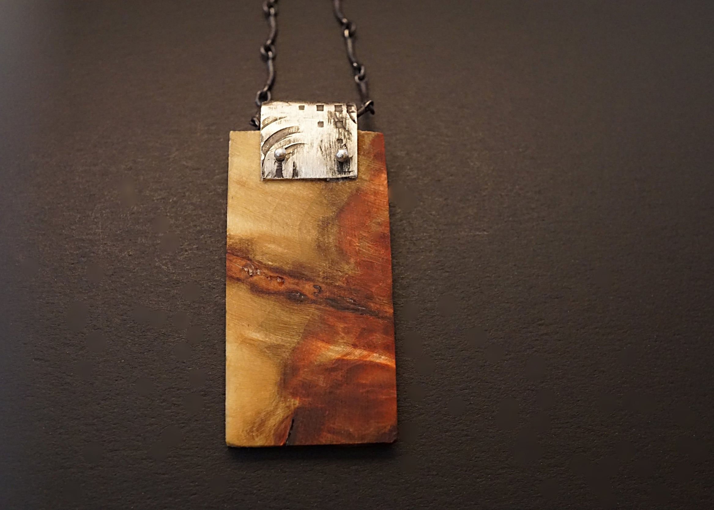 Box elder pendant with hand stamped sterling silver