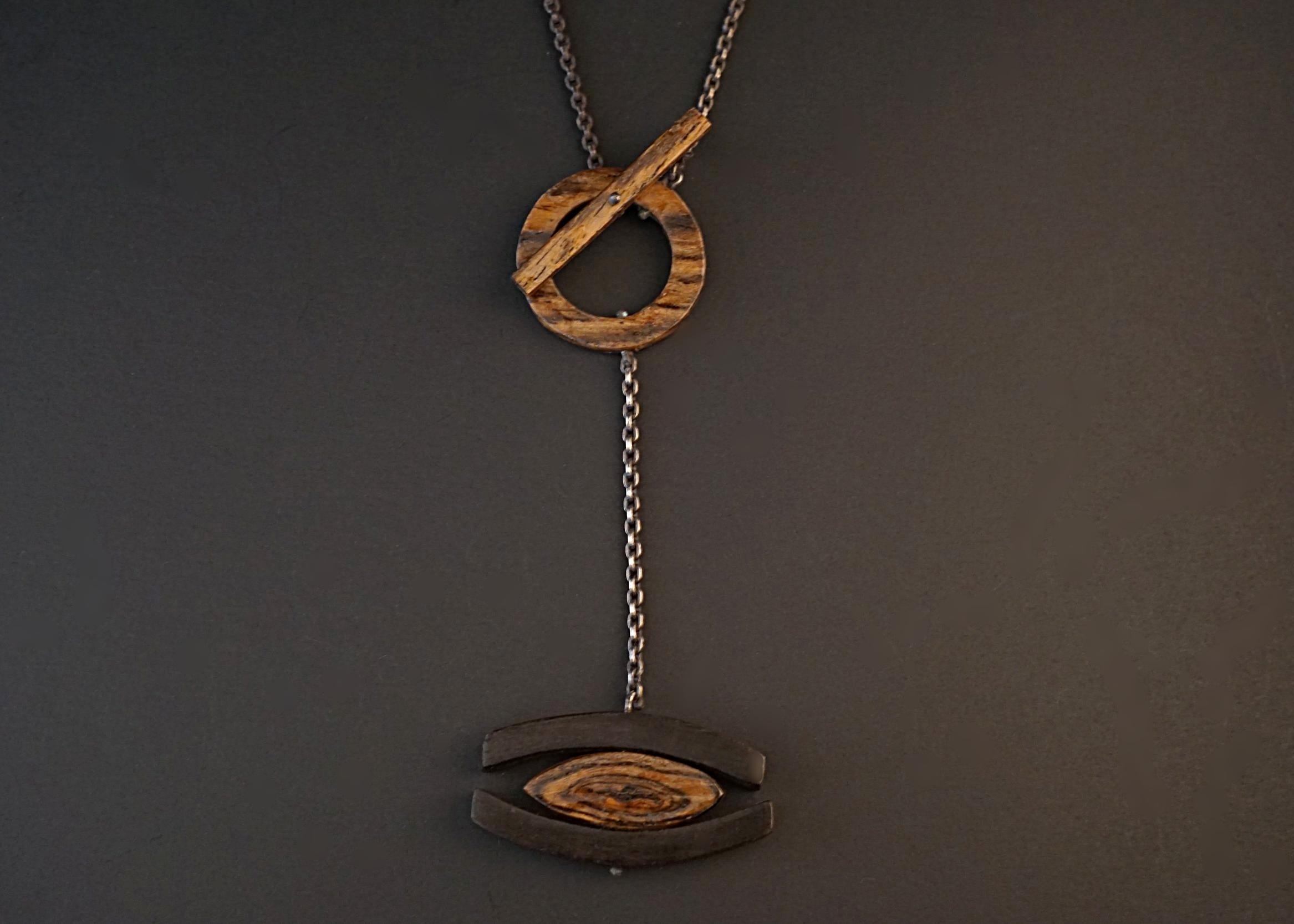 Bocote and ebony wood pendant