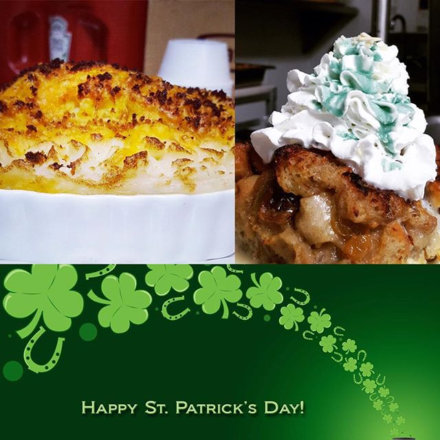 Come in for your #StPaddysDay favorites: #ShepherdsPie and #Jameson Whiskey Bread Pudding