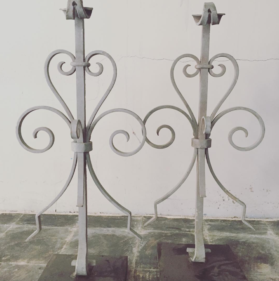 French Iron Gate Pieces Mounted on Metal Stands