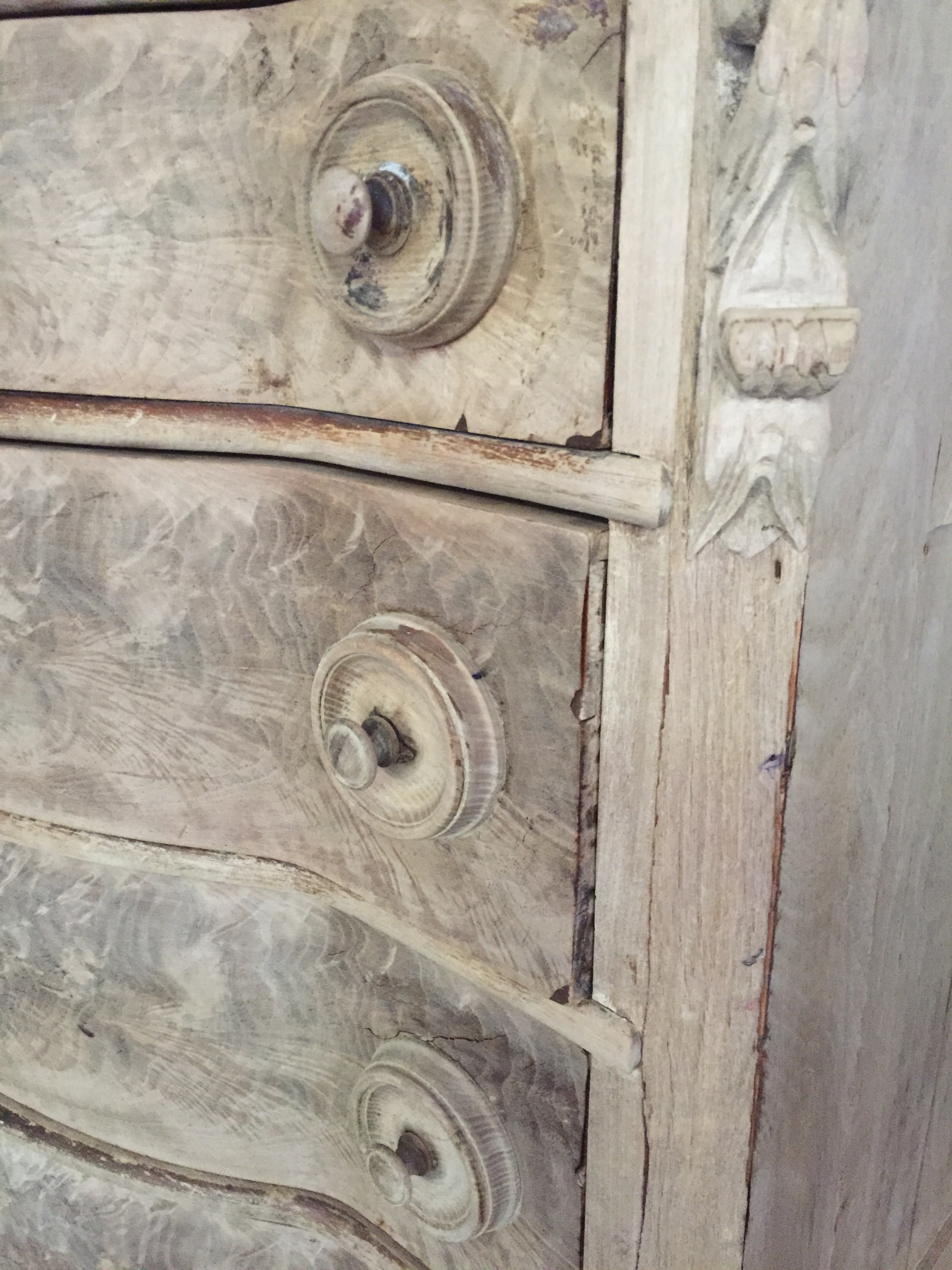Detail of 1880's Bleached Chest with Marble Top