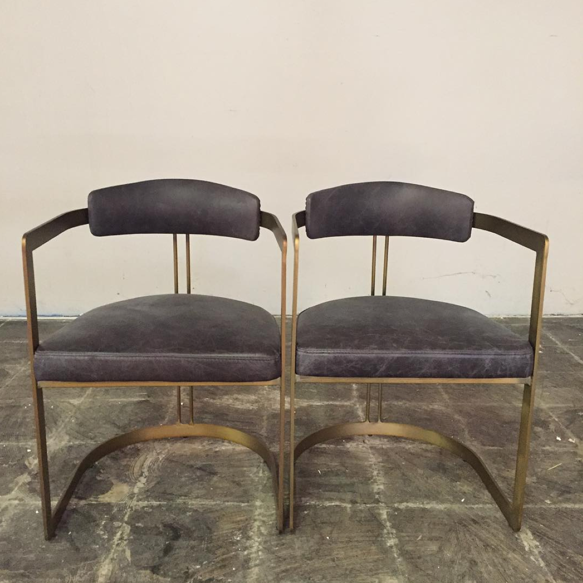 Charcoal Leather & Brass Occasional Chairs