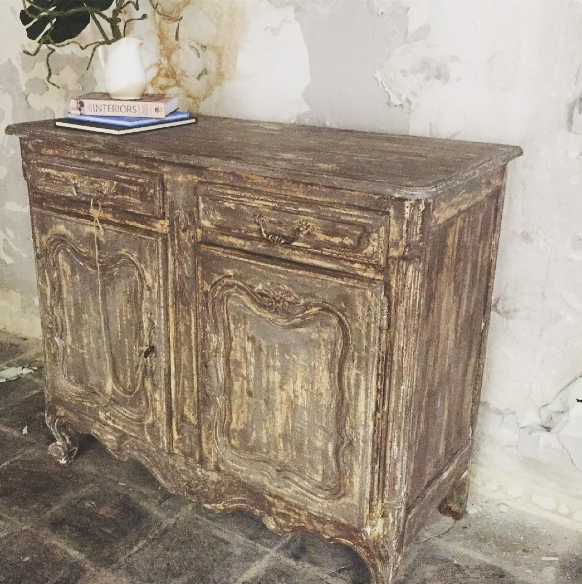 French Provincial Painted Side Board, hand made circa 1800's