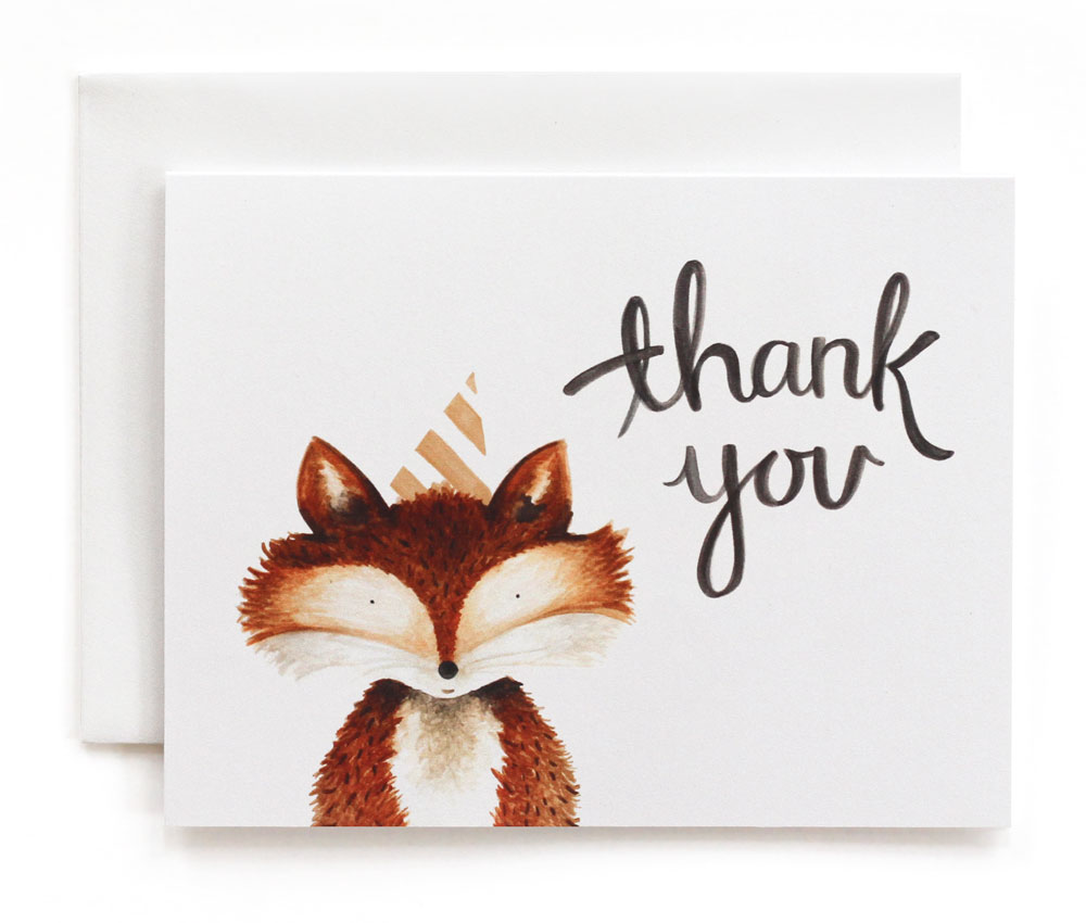 Red Stripes Fox Party Thank You Cards