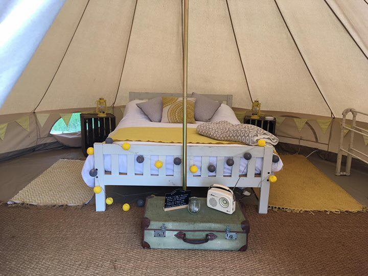 Comfortable double bed bell tents