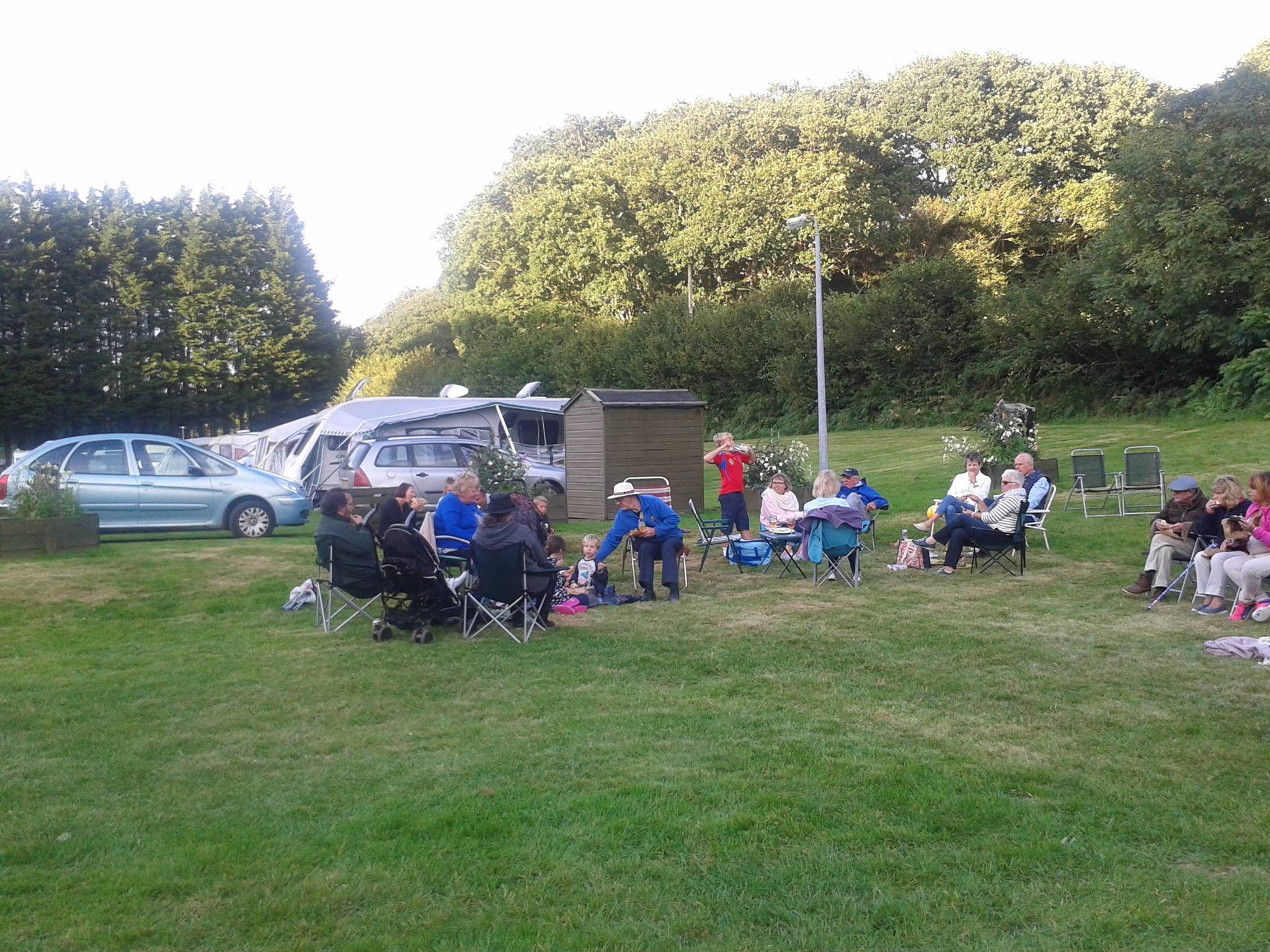 Touring caravan group picnic