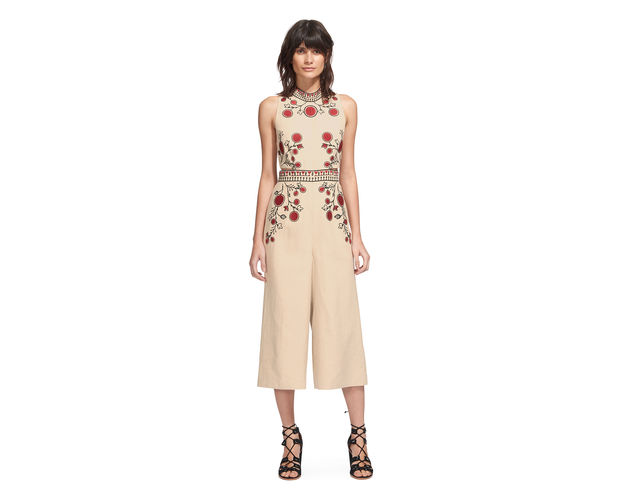 I have big love for this  Whistles  embroidered jumpsuit. At £395 its not cheap and you would need to know you have more than one occasion to wear it, but the detailing is gorgeous and i adore the colours. I find a black shoe a bit too overpowering with this, and I'd be inclined to go for something softer.