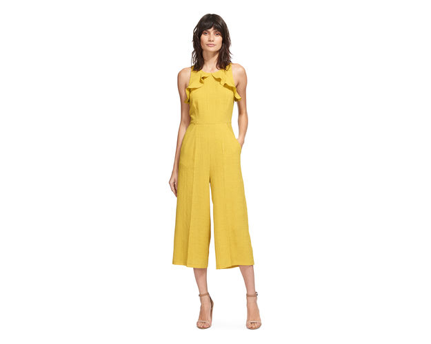A more reasonably priced  Whistles  jumpsuit. £175. Yellow is such a great colour and its really having a moment.Don't be afraid to add colour with your shoes and accessories. Leopard print heels, or blue or green would clash beautifully here. Or just go for ALL the colours like this  Kurt Geiger  sandal.