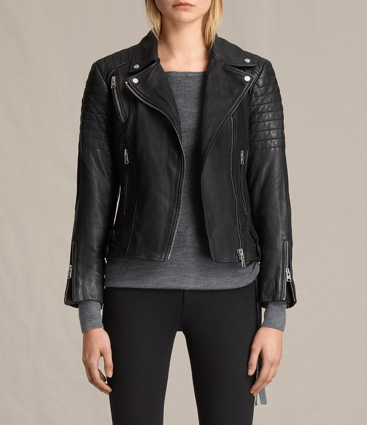 All Saints . Classic Biker, £380. Its one of the best sellers, and its a brilliant jacket. I could have chosen any of the best sellers- they are excellent. I do love this one though. It is form fitting with a slightly dipped back, the shoulders are stitched detail rather than padded- which can add bulk.