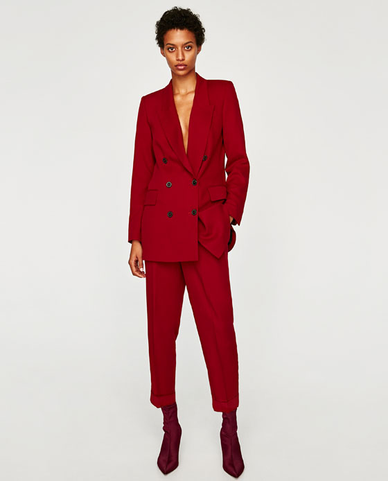 Zara  flowing double breasted jacket, with flowing cropped peg leg  trouse r, these are super flattering and are good for tall as well as petit and pear shaped women.