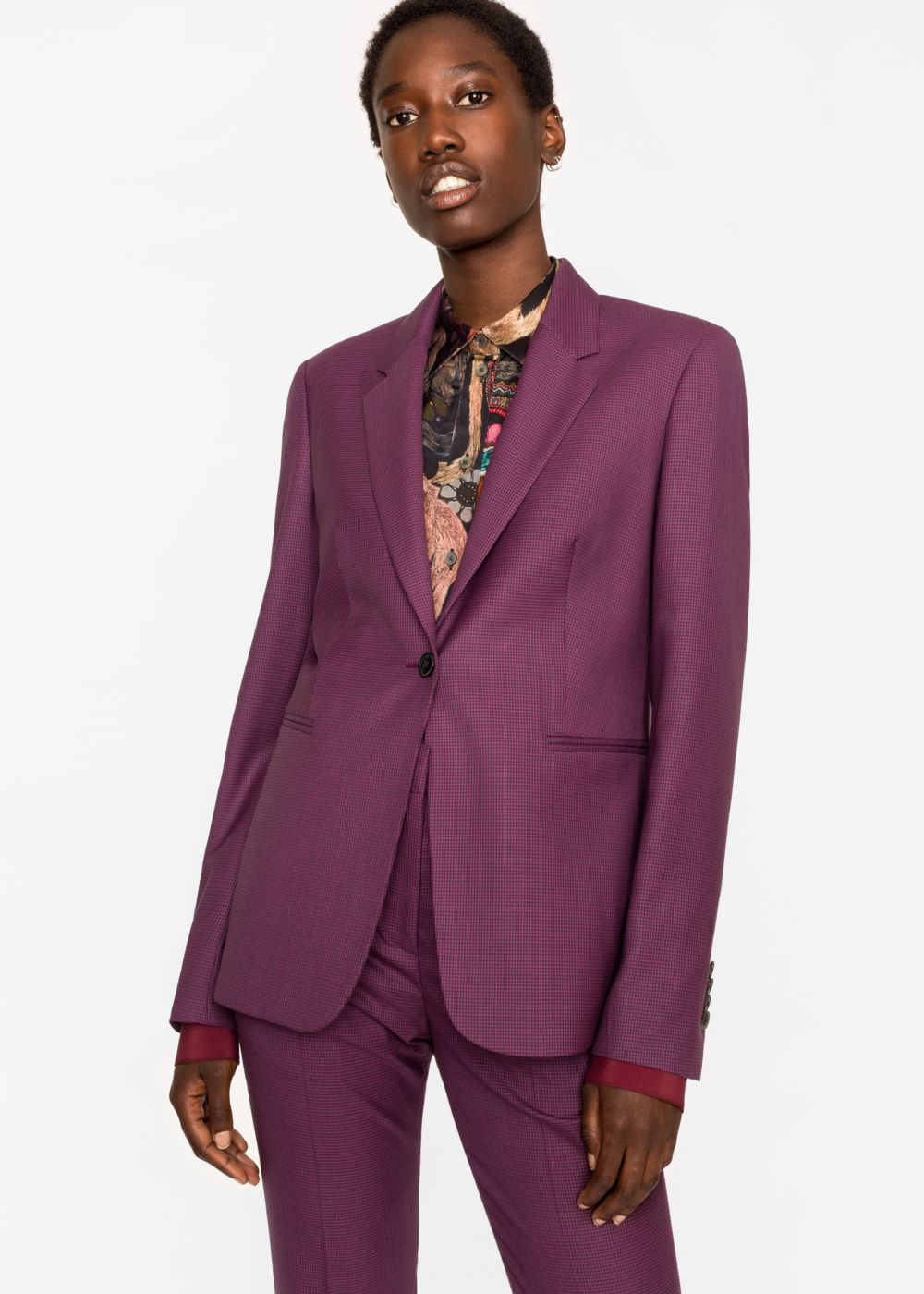 Paul Smith , £525, the  trousers  come in at £275 This is a big price leap for my high street edit- but gosh the details on it are gorgeous and the quality is beautiful. This suit looks amazing with trainers or heels and I love it with tee shirts or a really beautiful pussy bow blouse.