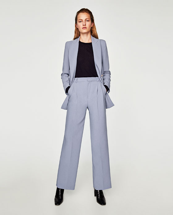 A more affordable blue suiting option from Zara  Jacket  and  Trouser , The long line jacket is super flattering and curves in at the waist ever so slightly. Pair the trousers with soft grey cropped knitwear and a long line grey coat- keep it tonal and you can do with trainers or chunky brogues for a casual day look.